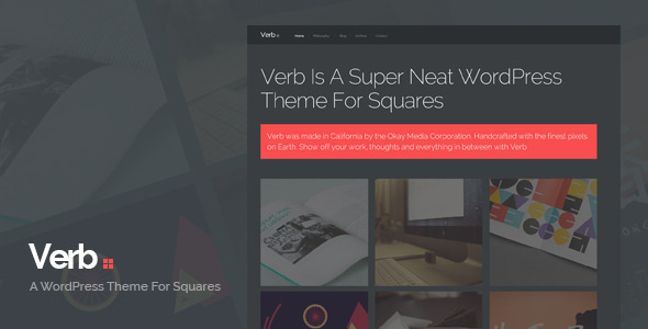 Verb is a blocky, portfolio-style theme with an empahsis on typography and attention to detail. Show off your latest photos and videos in all their glory with the responsive portfolio grid. Write blog posts about your cats with the beautiful, minimal blog. It's also responsive and Retina ready.