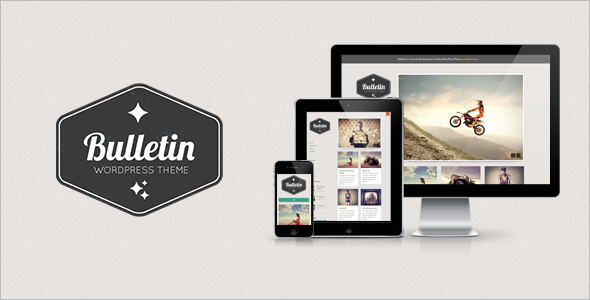 "Bulletin is a simple and elegant ""Tumblog"" style WordPress theme perfect for many types of websites such as blogs, portfolios, photography, and personal use sites."