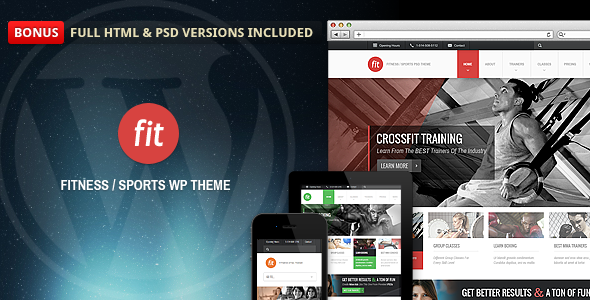 Fit is a premium WordPress theme designed mainly for fitness and gym website. It can also be used for any other type of website, especially for sports, spa, events etc.