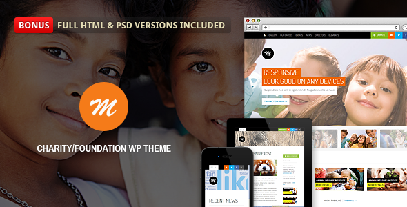Mission is a premium responsive WP template for charity and foundation website. After purchasing this theme, you will receive the WordPress version as well as the full HTML version and 6 PSD files. They are all layered and well organized in folder for easier use.