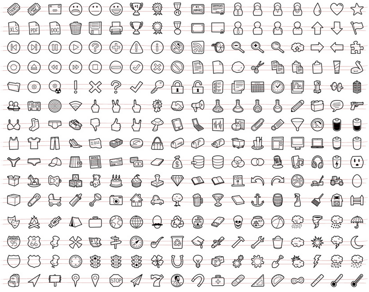 A Unique, Royalty-Free, Hand-Drawn Icon Set .