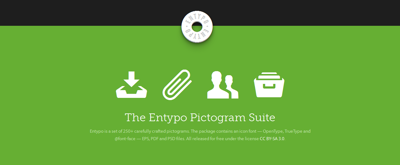 The package contains an icon font — OpenType, TrueType and @font-face — EPS, PDF and PSD files.