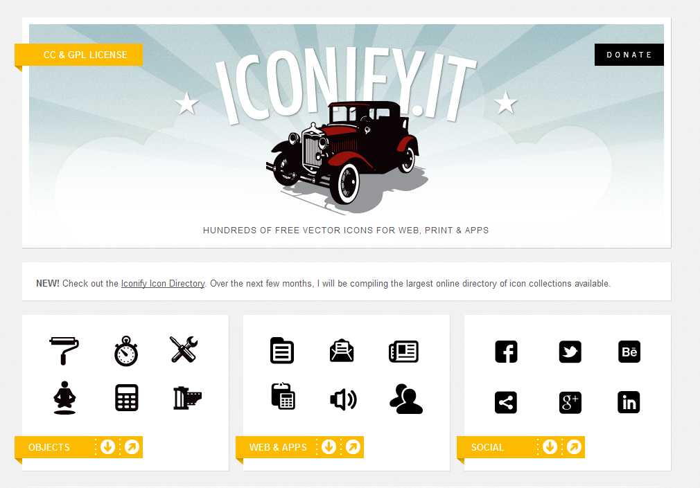 Hundreds of free vector icons for web, print & apps.
