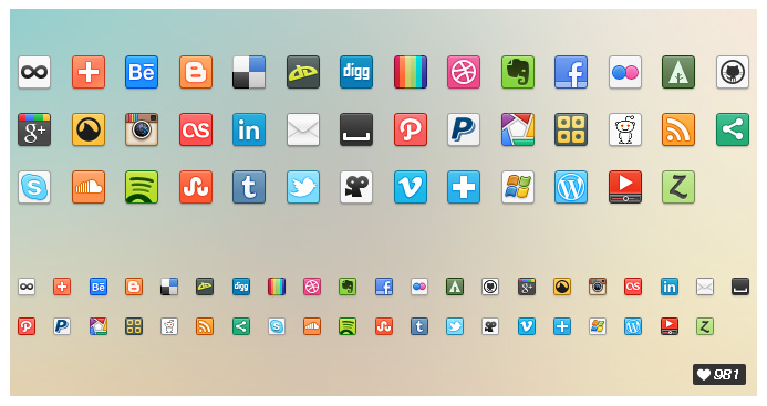 et of 41 social networking icons in both 16px and 32px by Prekesh Chavda.